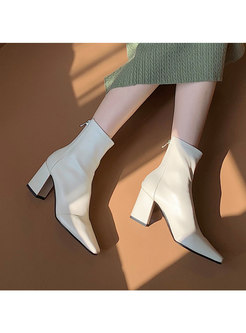 Square Toe Chunky Heel Short Boots