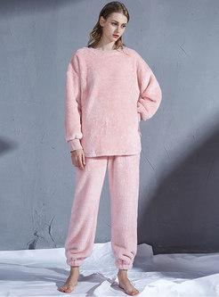 Crew Neck Pullover Loose Coral Pajama Set