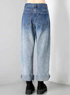 Color-blocked Denim Ripped Wide Leg Pants