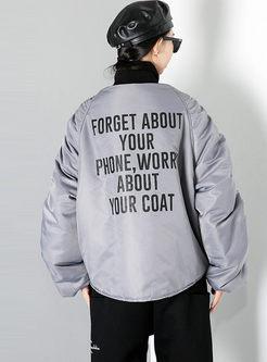 Crew Neck Ruched Letter Print Plus Size Jacket