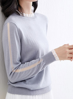 Mesh Patchwork Lettuce Pullover Sweater