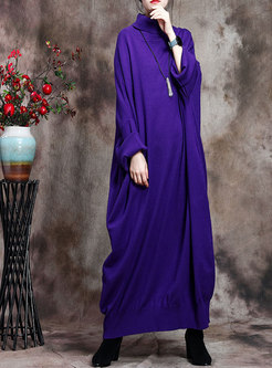 Turtleneck Bat Sleeve Plus Size Sweater Dress