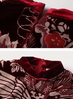Mock Neck Print Cape Patchwork Velvet Dress