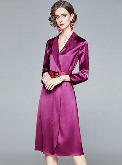 V-neck Satin Belted A Line Midi Dress