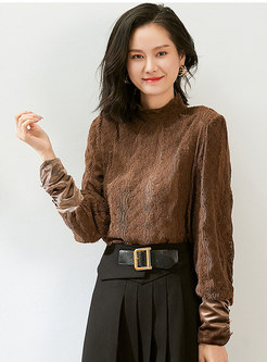 Turtleneck Openwork Pullover Lace Blouse