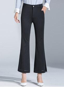 High Waisted Black Split Flare Pants