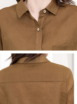 Turn Down Collar Single-breasted Blouse