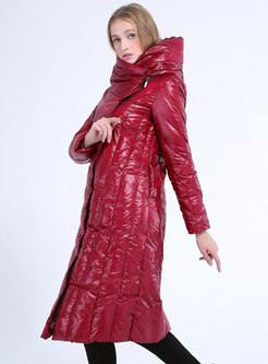 Hooded Straight Long Plus Size Down Coat