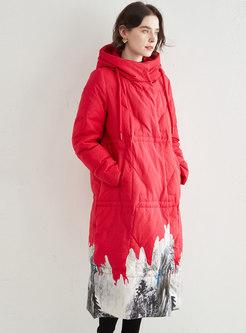 Hooded Long Straight Print Down Coat