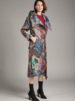 Hooded Print Long Slim Duck Down Coat