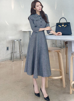 3/4 Sleeve Houndstooth A Line Maxi Dress