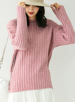 Solid Crew Neck Pullover Ribbed Sweater