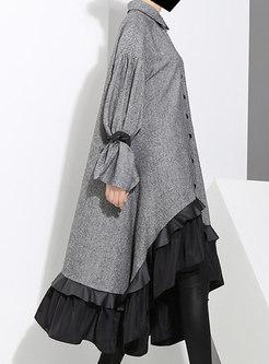 Turn Down Collar Ruffle Patchwork Shift Dress