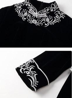 Mandarin Collar Embroidered Cheongsam Dress