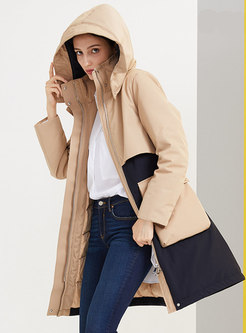 Removable Hooded Color-blocked Down Coat