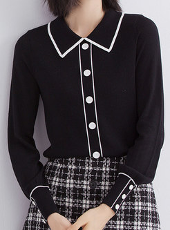 Lapel Pullover Single-breasted Slim Sweater