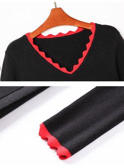 Color-blocked V-neck A Line Knitted Dress