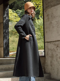 Lapel Double-breasted Long Straight Peacoat