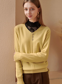 Lace Openwork Patchwork Mock Neck Sweater