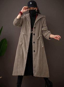 Hooded Plus Size Long Drawstring Corduroy Coat