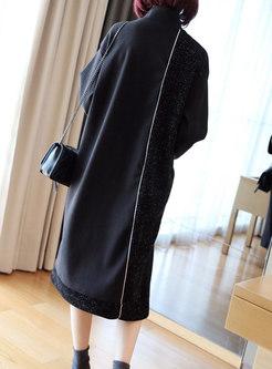 Half Turtleneck Shift Knitted Dress