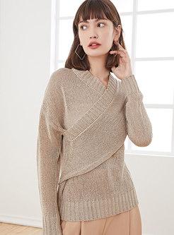 V-neck Pullover Patchwork Slim Sweater