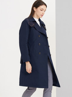 Lapel Double-breasted Straight Down Coat