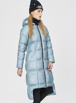 Hooded Asymmetric Knee-length Down Coat
