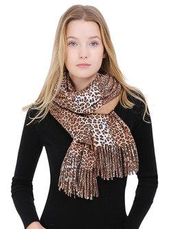 Leopard Fringed Wool Blend Scarf