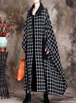 Plaid Long Plus Size Straight Coat