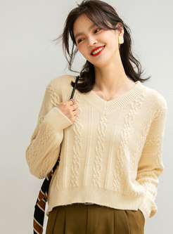 V-neck Pullover Long Sleeve Loose Sweater