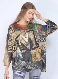 Crew Neck Pullover Print Plus Size Sweater