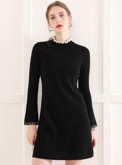 Lettuce Mock Neck Mini Sweater Dress