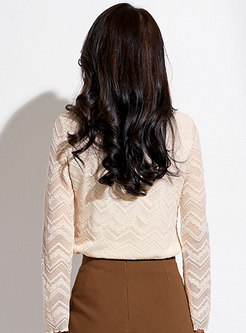Lace Mock Neck Pullover Blouse