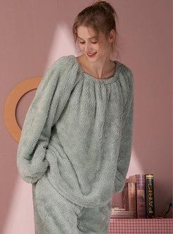 Square Neck Solid Coral Loose Pajama Set