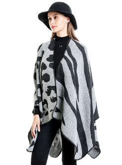 Leopard Print Faux Cashmere Shawl Scarf