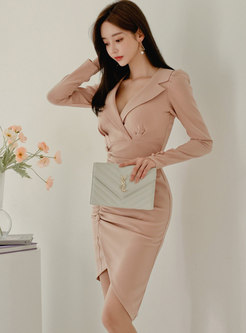 Notched Ruched Asymmetric Bodycon Dress