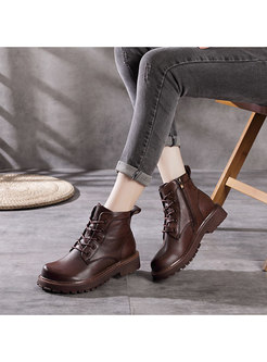 Retro Rounded Toe Platform Ankle Boots