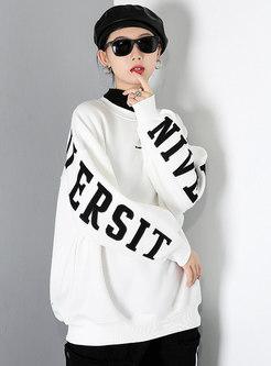 Color-blocked Letter Print Pullover Sweatshirt