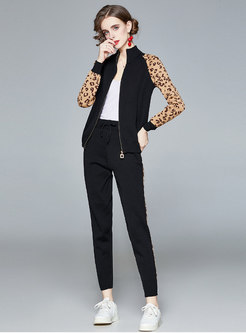 Mock Neck Leopard Print Knitted Pant Suits