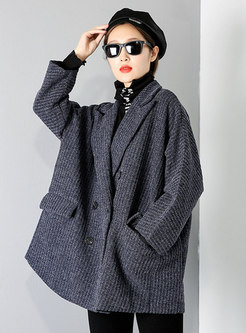 Notched Double-breasted Straight Peacoat