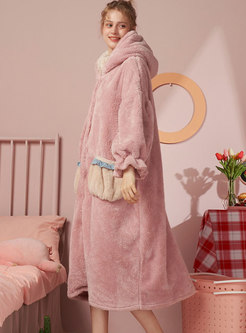 Cute Hooded Single-breasted Coral Robe
