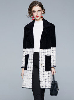 Color-blocked Plaid Straight Overcoat