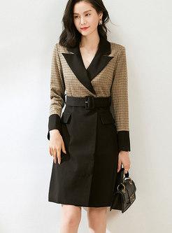 Notched Patchwork Plaid Blazer Dress