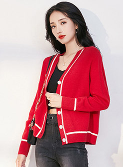 V-neck Single-breasted Short Cardigan