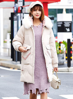 Hooded Color-blocked Straight Down Coat