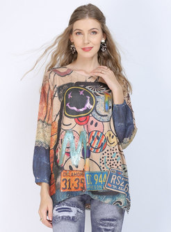 Print Pullover Plus Size Sweater
