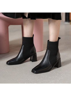 Square Toe Knitted Patchwork Ankle Boots