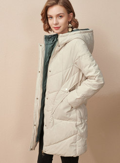 Hooded Letter Print Straight Down Coat