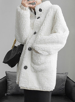 Stand Collar Lambswool Mid-length Coat